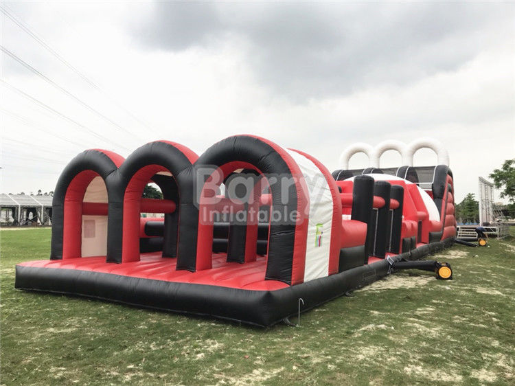 Red Great Commercial Obstacle Course Bounce House  , Inflatable Rush Extreme Obstacle supplier