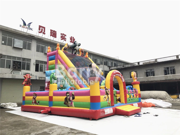 Cartoon Inflatable Bounce House And Slide Combo With Blower For School And Daycare