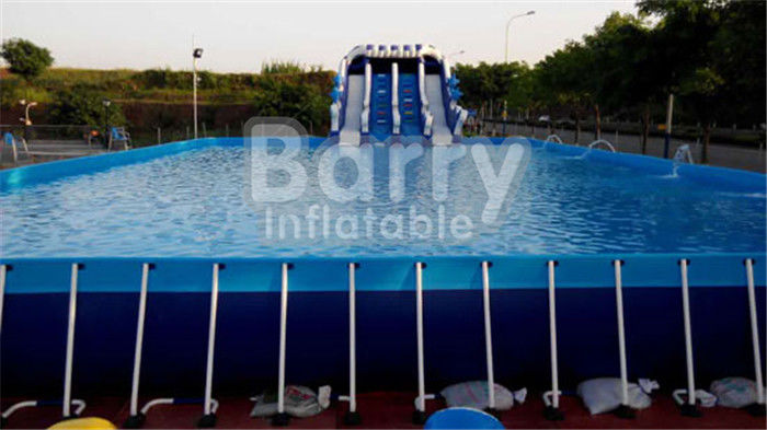 Outdoor Durable 0.9mm PVC Tarpaulin Metal Frame Swimming Pool For Water Park