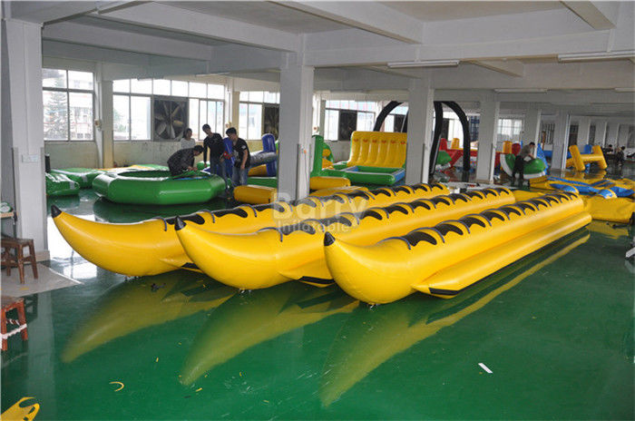 China Yellow Inflatable Banana Boat PVC Tarpaulin Water Toys For Water Park factory