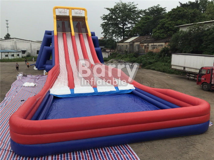 China Four Lanes Giant Inflatable Slide / PVC Water Slide With Big Pool For Adults factory