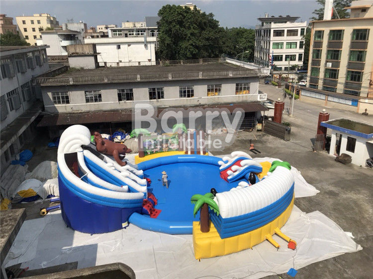 China Custom PVC Aquapark Inflatable Water Park With Pool And Slide For Children factory
