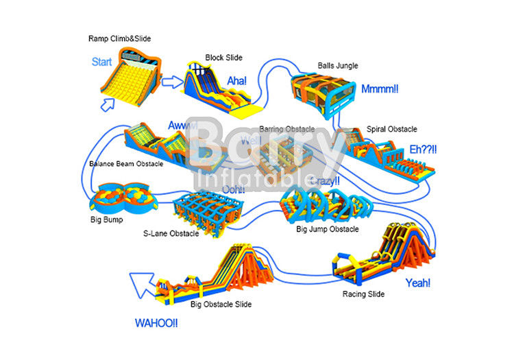 Certificated Durable Inflatable 5k Obstacle Course For Adult And Children