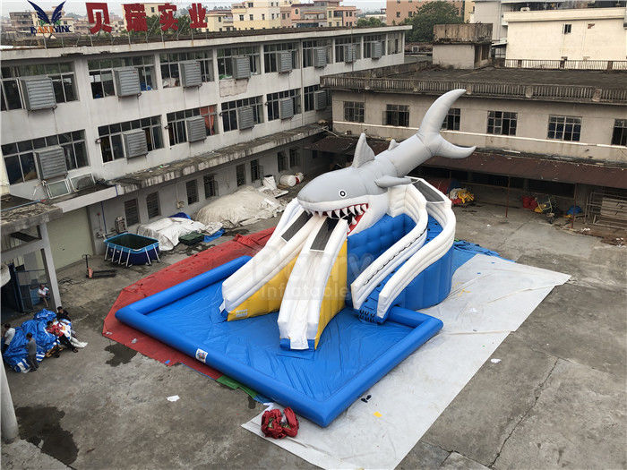 China Outdoor Mobile Shark Commecial Giant Inflatable Pool / Water Park Equipment factory