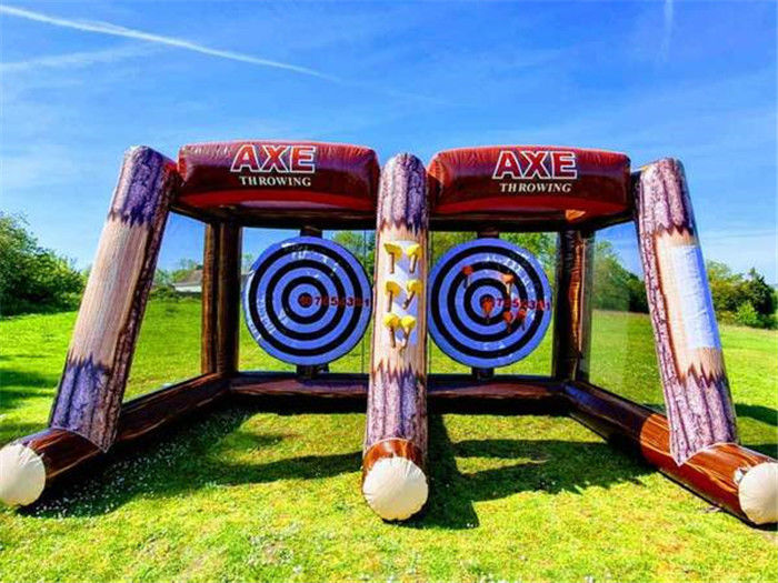 China 2 Players Inflatable Sports Games Challenge Interactive Party Carnival Inflatable Axe Throwing Games factory