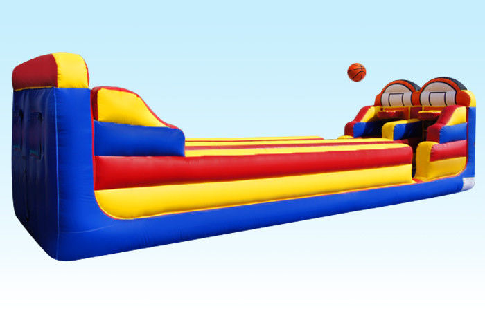 China PVC Inflatable Pull Match Run , Bungee Run With Basketball Hoops For Competition factory