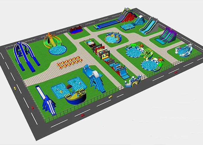 China Resort Commercial Inflatable Water with Park with Slide with Pool On Ground Land factory