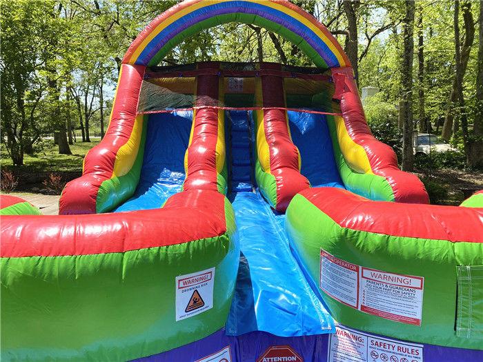12' Tall Kids Backyard Double Inflatable Water Slide Slip ...