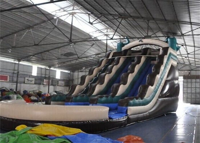 China Colored Fire Retardant Commercial Inflatable Giant Slide With Pool factory