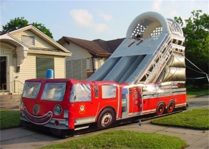 China Customized 15M Length Inflatable Fire Truck Slide With Logo Printing Rental factory