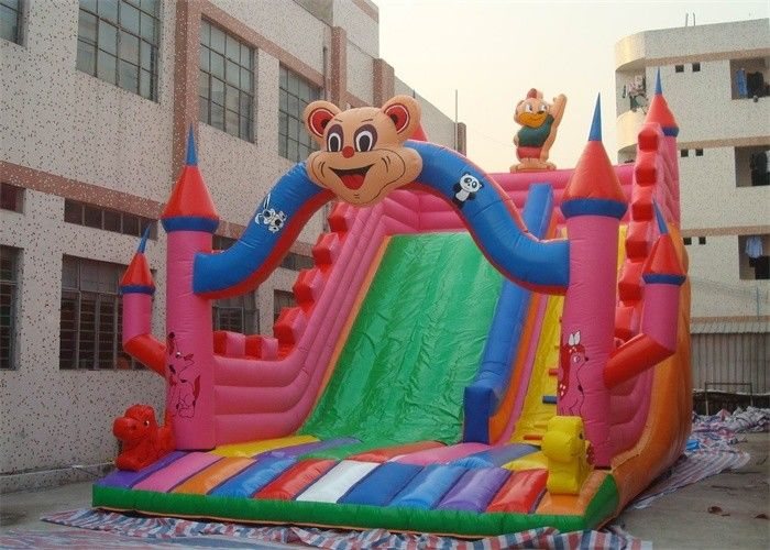 China Lovely Cartoon Commercial Inflatable Slide , Kids Inflatable Slides For Park factory