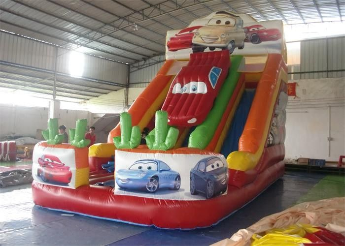 China PVC Tarpaulin Commercial Inflatable Slide, Car Shape Inflatable Colorful Slide factory