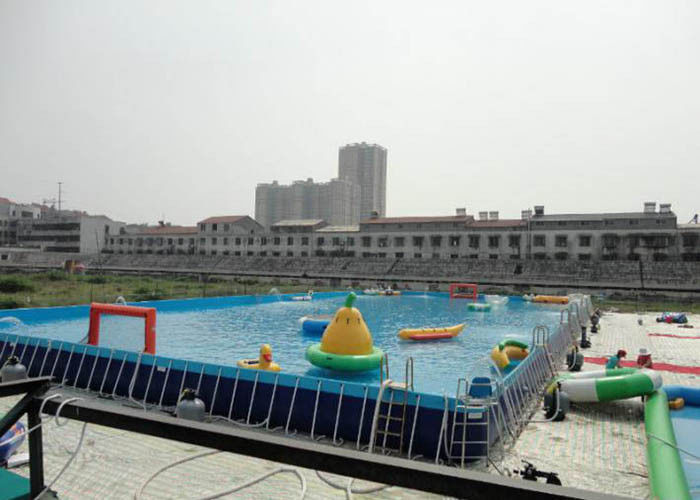 Big Water Park Rectangle Above Ground Metal Frame Paddling Pool