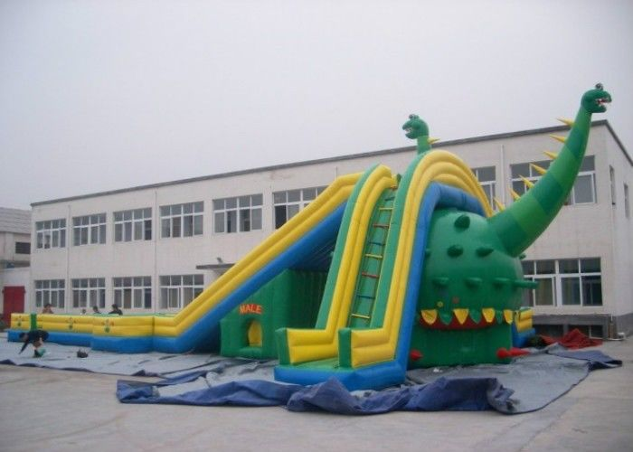30M Long Giant Dinosaur Inflatable Slide / Kids Huge Blow Up Slide supplier