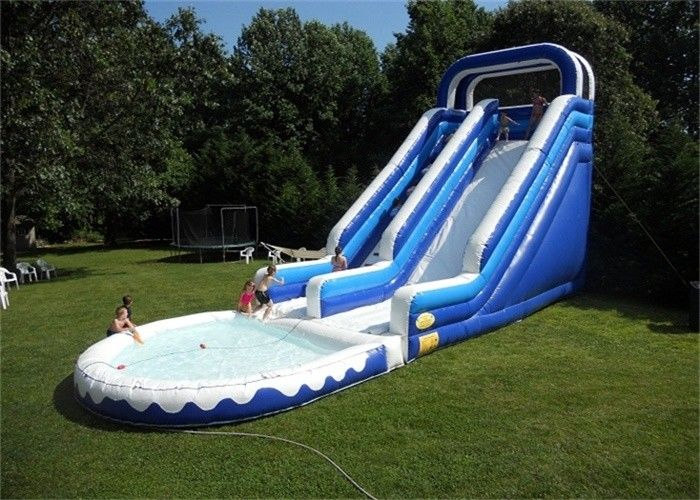 China Double Lane Inflatable Water Slide , Durable Material Inflatable Water Slide For Playing factory