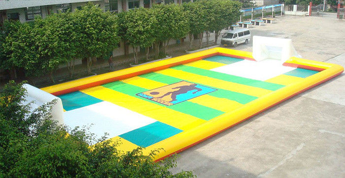 China Dry Land Inflatable Football Field , Inflatable Soccer Court with Water factory
