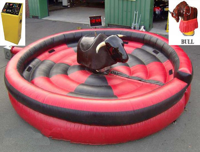 1 Person Inflatable Mechanical Bull , Tarpaulin Inflatable Round Mat Mechanical Rodeo Bull supplier