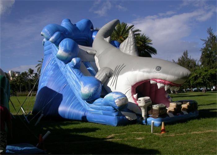 Durable Logo Printing Animal Design Inflatable Shark Water Slide For Kids