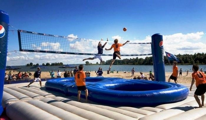 durable Inflatable Bossaball Court For Inflatable Sports Games 12 Person supplier