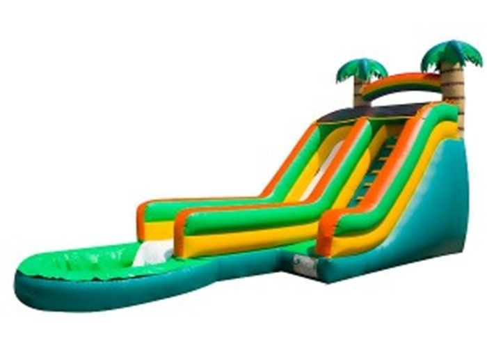 China Green Palm Tree Inflatable Water Slides / Inflatable Backyard Water Slide factory
