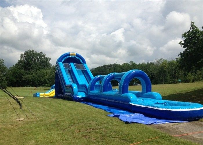 Exciting 0.55mm PVC Tarpaulin Inflatable Double Slip And Slide With Pool