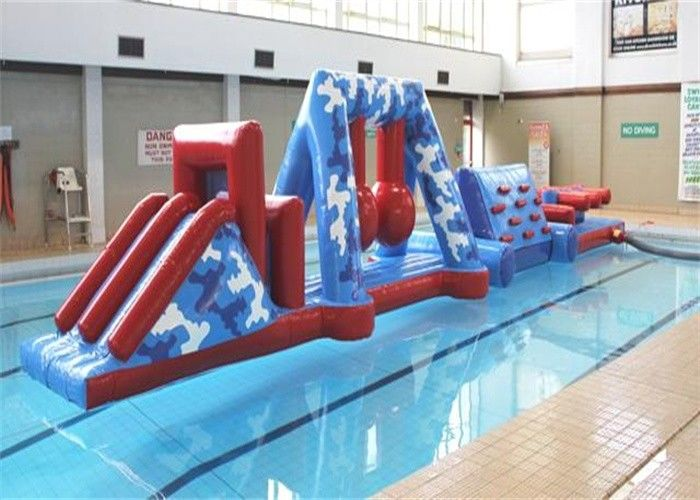 Funny Kids Sports Inflatable Water Obstacle Course With Safety PVC Tarpaulin