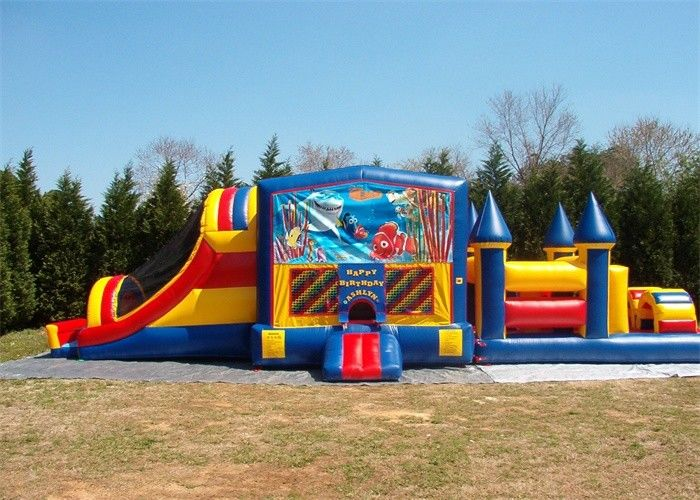Durable Commercial Bounce House Obstacle Course For Adult Inflatable Games