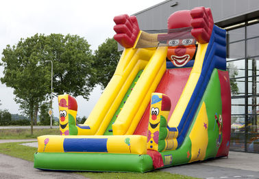 China Single Lane Super Clown Inflatable Slide 6.3m Height  With Logo Printing distributor