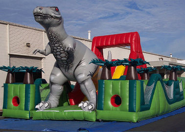 Amazing Jurassic Survivor Dinosaur Inflatable Obstacle Course , Toddler Obstacle Course