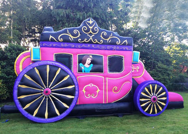12' x 18' Or Customized Size Kids Pink Princess Inflatable Carriage Castle With Printing