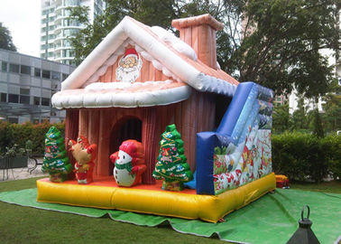 Cuatomized 0.55mm PVC Merry Christmas Inflatable Santa Claus Bouncy Castle For Kids Play