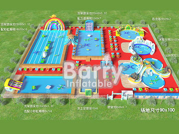 Commercial inflatable water park equipment , metal frame inflatable amusement park