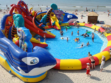 customized giant octopus water park,dolohin animal inflatable water park with big pool toys