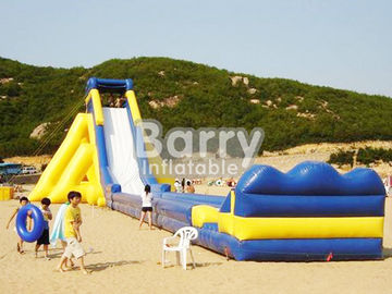 Yellow / Blue Giant Commercial Inflatable Slide / Adult Inflatable Slide