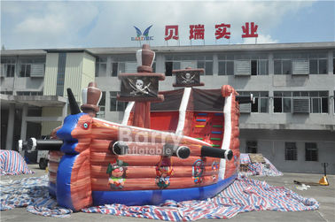 Attractive Commercial Inflatable Combo Pirate Ship , Bouncy Castle Slide With Obstacle Course