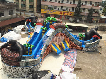 Custom Gorilla Inflatable Water Park With 3 Round Swimming Pool