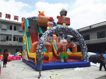 Giant Jumping Commercial Inflatable Slide , Pirate Ship Inflatable Dry Slide For Kids
