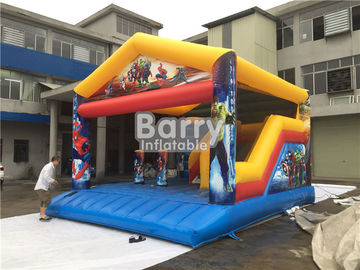 6x5m Theme Inflatable Superman Bounce House With Slide For Amusement Park Outdoor