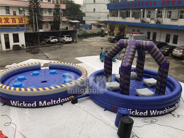 Purple Or Custom Made Inflatable Meltdown Rotating Game , Inflatable Last Man Standing Game