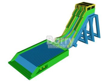 Outdoor Giant Inflatable Slide For Event , Tall Drop Kick Water Slide With Platform