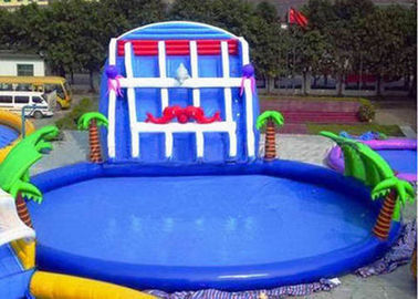 China Palm Tree Inflatable Swimming Pools With Slide , Inflatable Above Ground Swimming Pools distributor