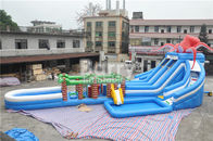 Octopus / Jungle Inflatable Hurricane Backyard Water Slide With Obstacle Course