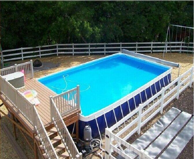 Durable Backyard Ground Metal Frame Pool Blue Inflatable Swimming Pool 0 9 Pvc Tarpaulin