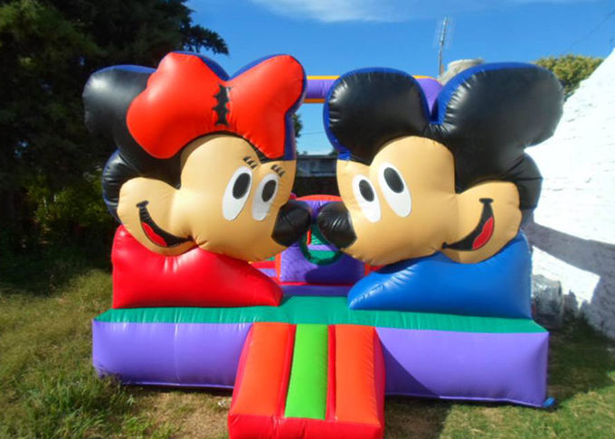 Customized Mickey Mouse Inflatable Bounce House Moonwalk Bouncers With Logo Printing