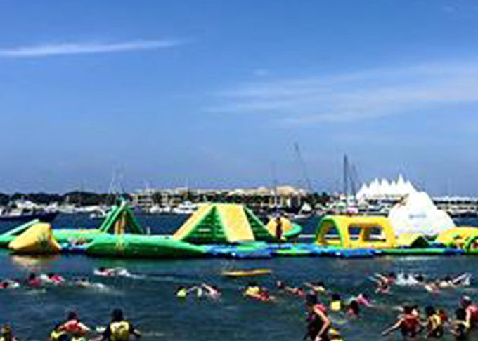 Giant Open Water Inflatable Water Park , Best Fun Beach Water Parks With Logo Printing
