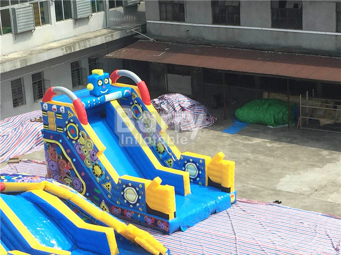 Children Small Robot Inflatable Dry Slide For Amusement Park / Rental Business