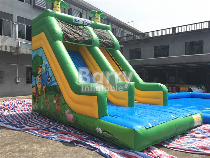 Single Lane Green Jungle Commercial Inflatable Slide Zoo Printing For Children