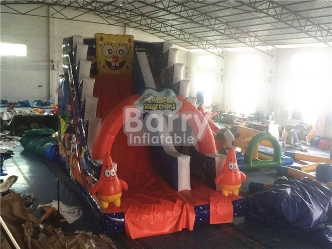 Professional Spongebob Commercial Inflatable Slide Fireproof For Kids Playground