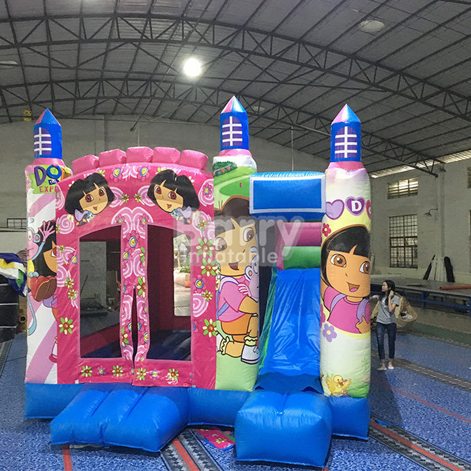 Pink Princess Large Dora Inflatable Bounce House Commercial With Digital Printing