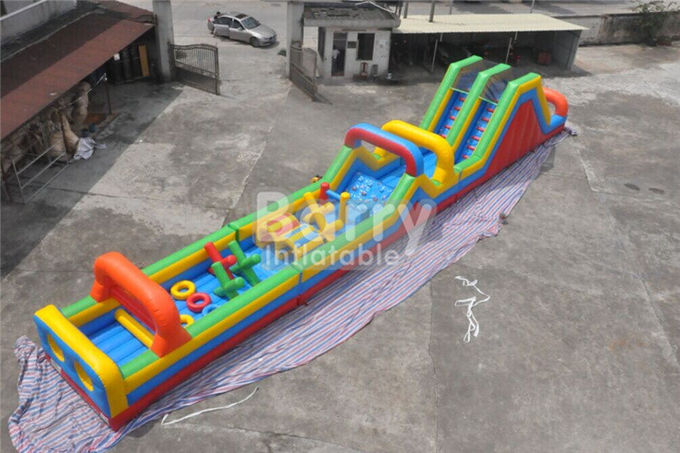 Long 3 parts Bouncy Castle Obstacle Course equipment for adults and kids